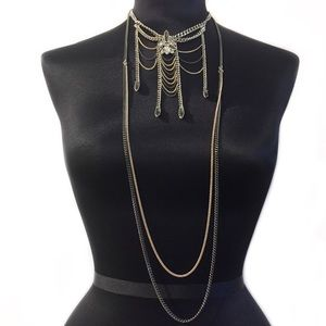 BCBGENERATION CHAIN NECKLACE ROSE GOLD SILVER GRAY